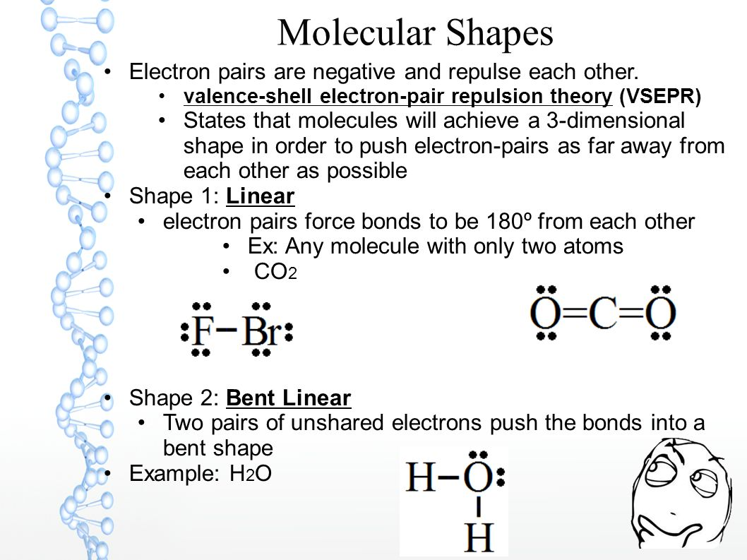 Molecular Shapes Electron pairs are negative and repulse each other.