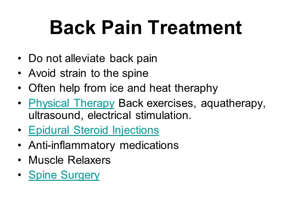 Back Pain Treatment Do not alleviate back pain