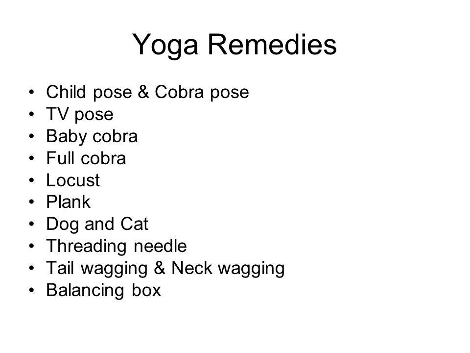 Yoga Remedies Child pose & Cobra pose TV pose Baby cobra Full cobra