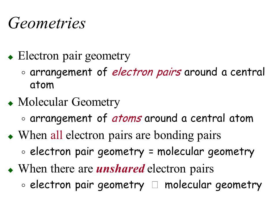 Geometries Electron pair geometry Molecular Geometry
