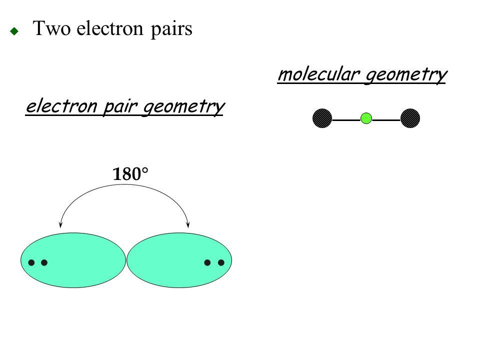 Two electron pairs molecular geometry electron pair geometry 180° •