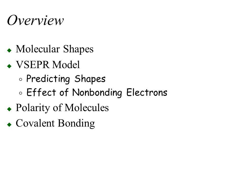 Overview Molecular Shapes VSEPR Model Polarity of Molecules