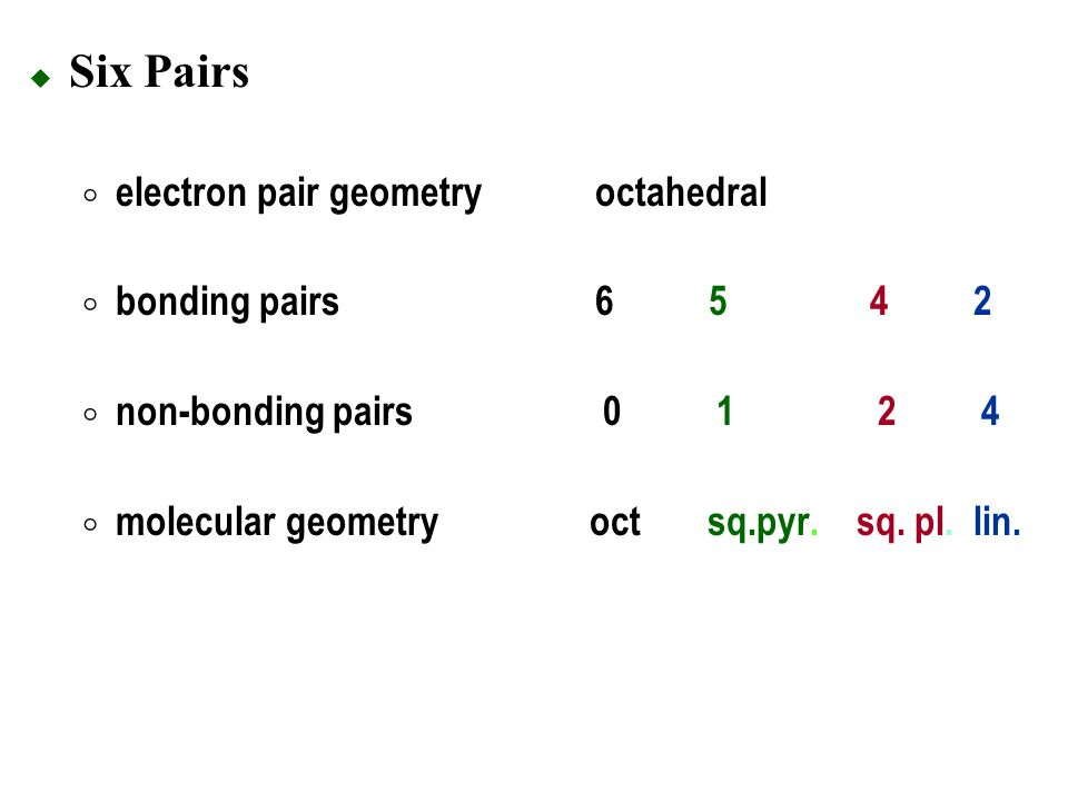 Six Pairs electron pair geometry octahedral bonding pairs 6 5 4 2