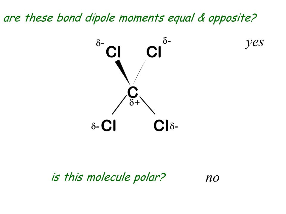 Cl Cl C Cl Cl yes no are these bond dipole moments equal & opposite