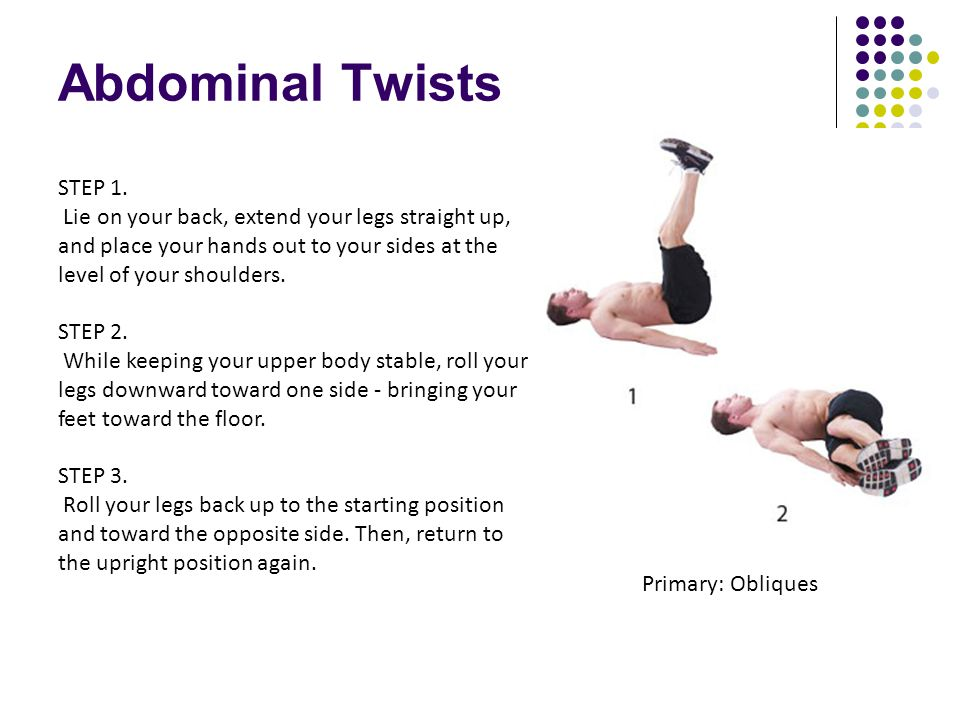 Abdominal Twists STEP 1. Lie on your back, extend your legs straight up, and place your hands out to your sides at the level of your shoulders.