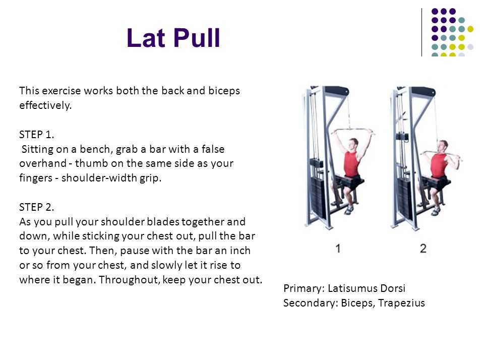 Lat Pull This exercise works both the back and biceps effectively.