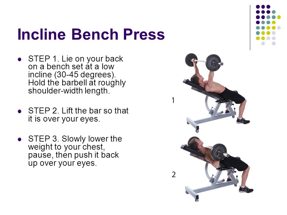 Incline Bench Press STEP 1. Lie on your back on a bench set at a low incline (30-45 degrees). Hold the barbell at roughly shoulder-width length.