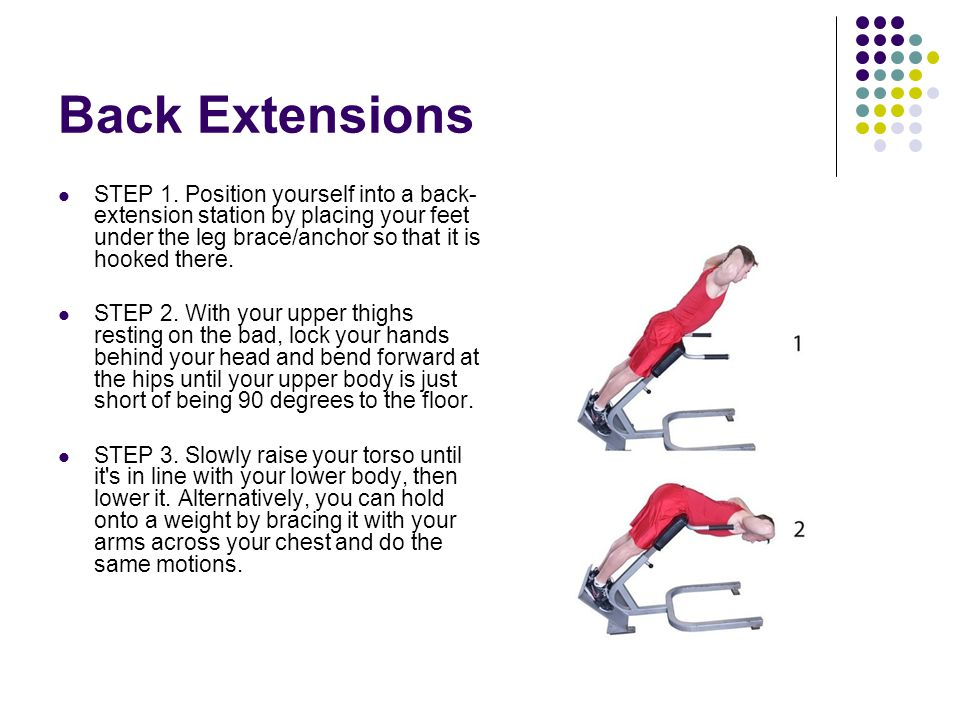 Back Extensions STEP 1. Position yourself into a back-extension station by placing your feet under the leg brace/anchor so that it is hooked there.