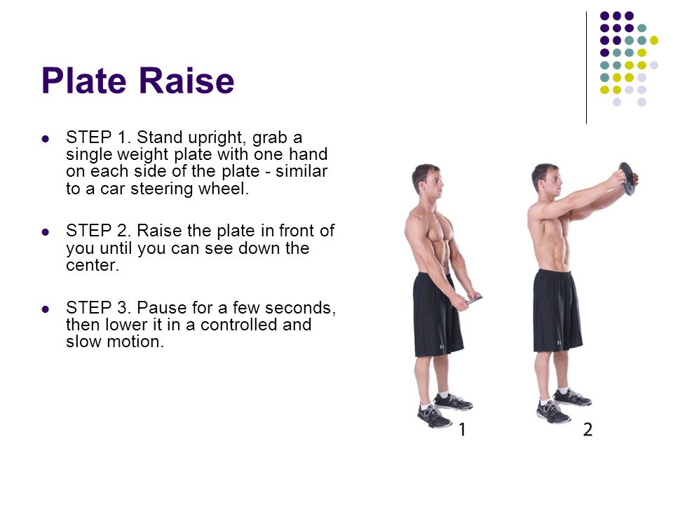 Plate Raise STEP 1. Stand upright, grab a single weight plate with one hand on each side of the plate - similar to a car steering wheel.