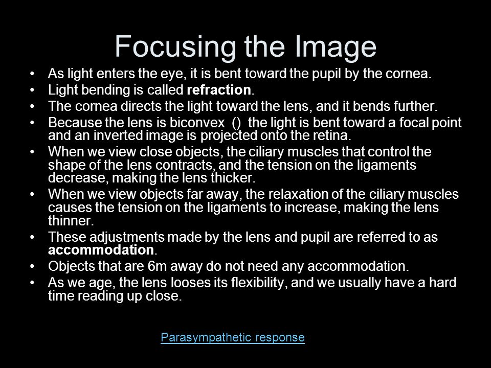 Focusing the Image As light enters the eye, it is bent toward the pupil by the cornea. Light bending is called refraction.