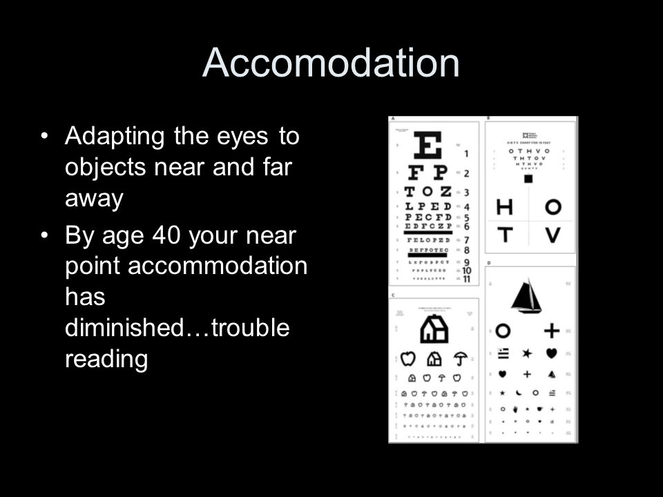 Accomodation Adapting the eyes to objects near and far away