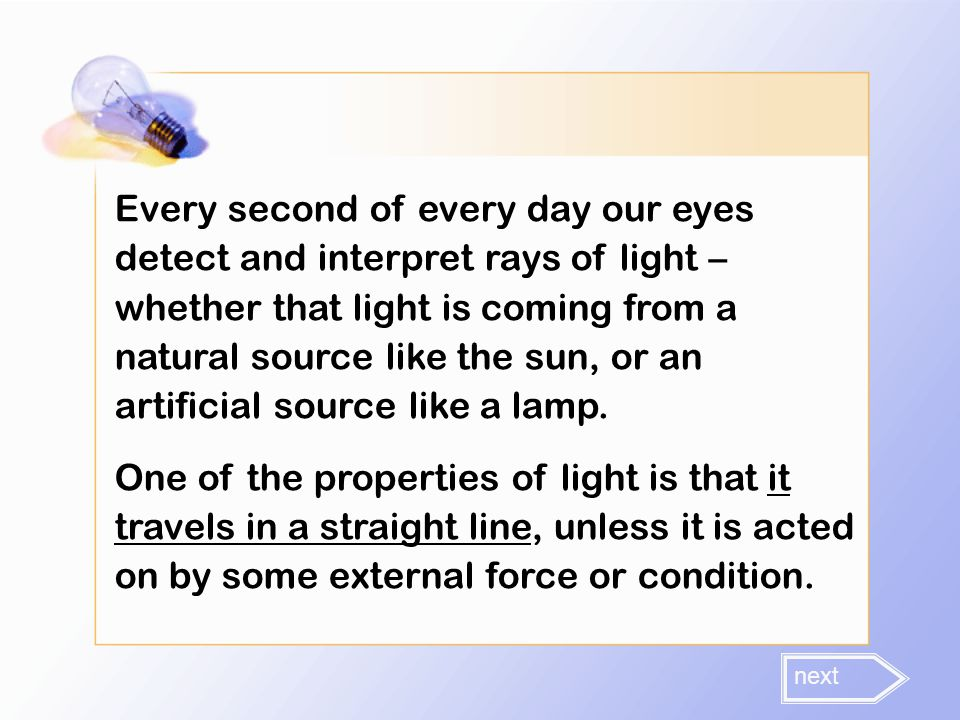 Every second of every day our eyes detect and interpret rays of light – whether that light is coming from a natural source like the sun, or an artificial source like a lamp.