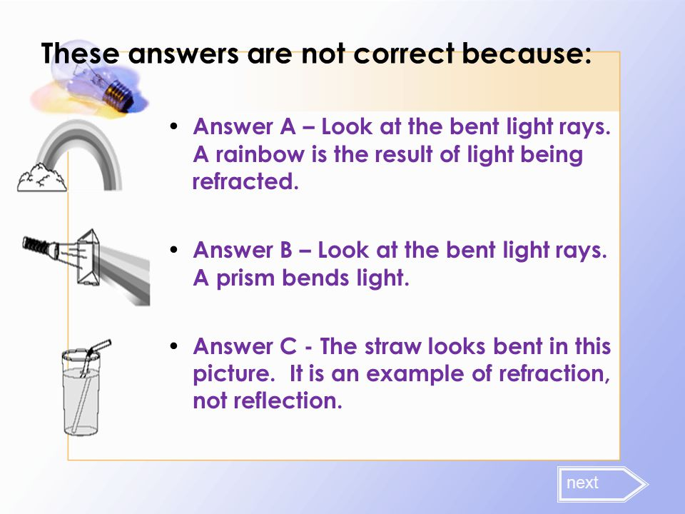 These answers are not correct because: