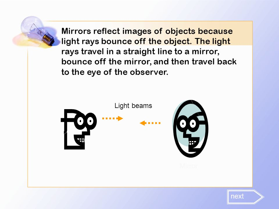 Mirrors reflect images of objects because light rays bounce off the object. The light rays travel in a straight line to a mirror, bounce off the mirror, and then travel back to the eye of the observer.