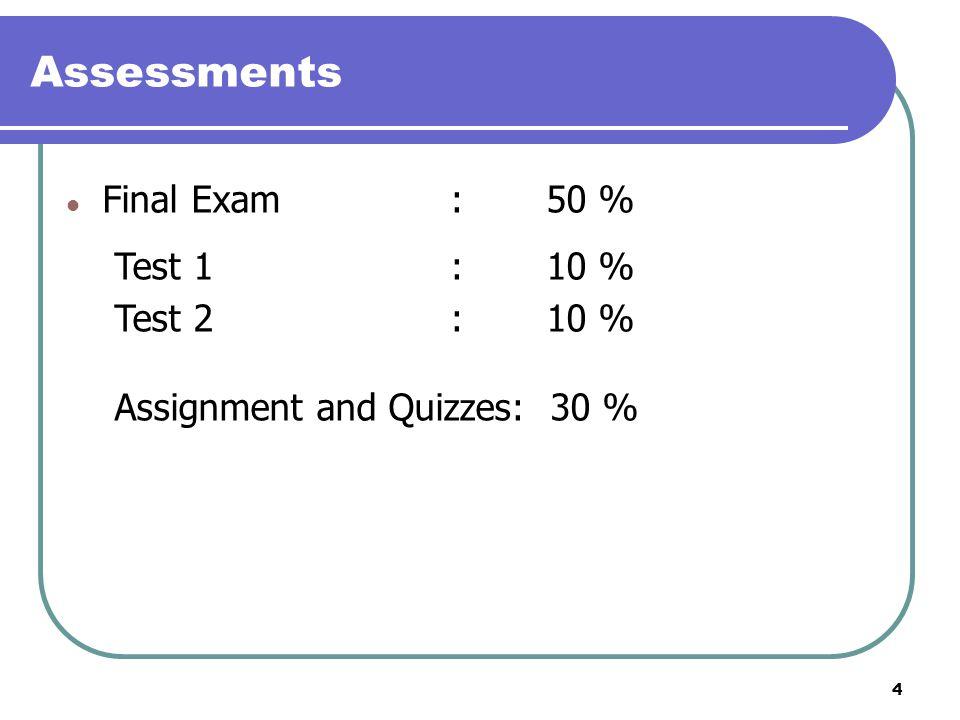 Assessments Final Exam : 50 % Test 1 : 10 % Test 2 : 10 %