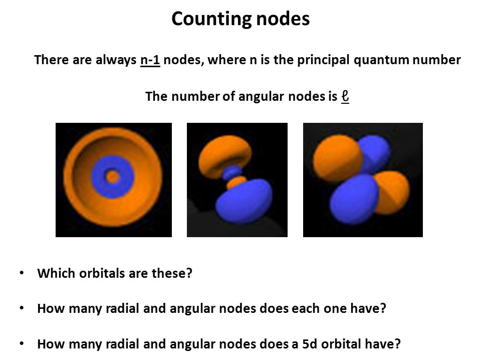 There are always n-1 nodes, where n is the principal quantum number