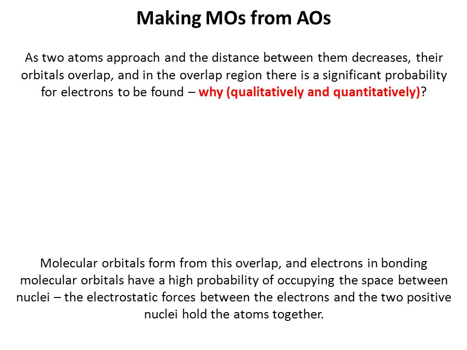 Making MOs from AOs