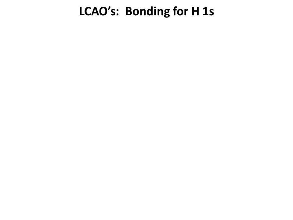 LCAO's: Bonding for H 1s