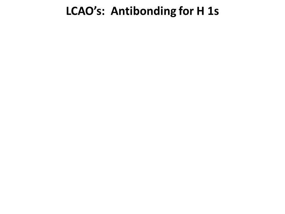 LCAO's: Antibonding for H 1s