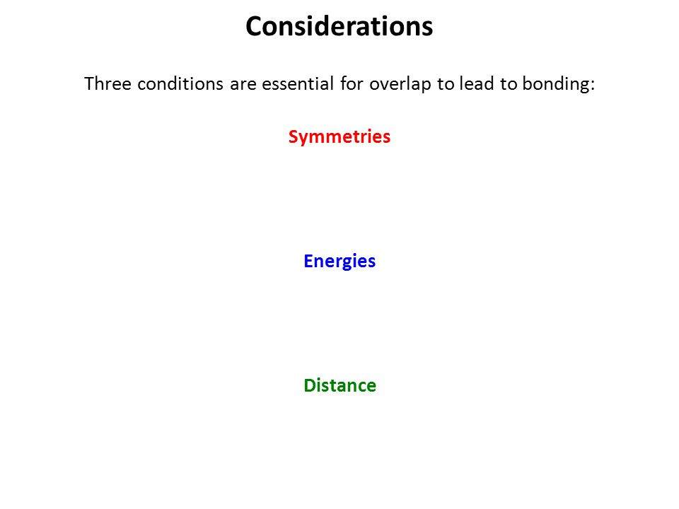 Three conditions are essential for overlap to lead to bonding: