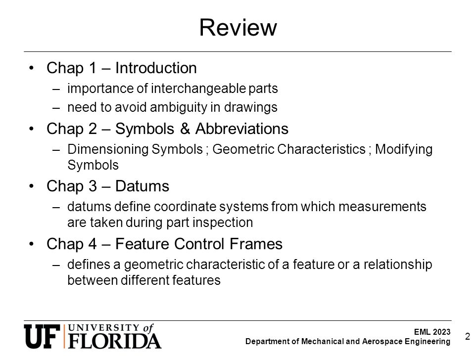 Review Chap 1 – Introduction Chap 2 – Symbols & Abbreviations