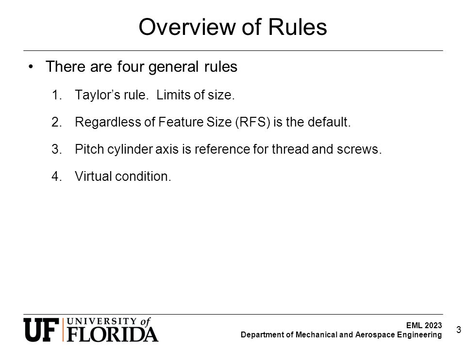 Overview of Rules There are four general rules