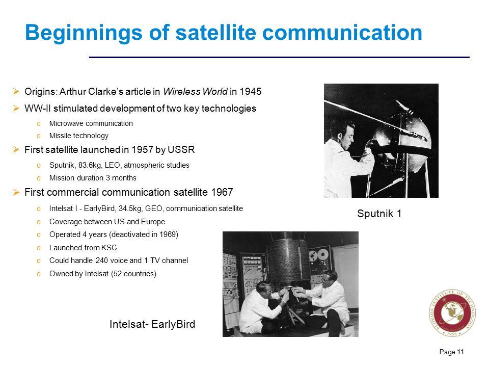 Beginnings of satellite communication