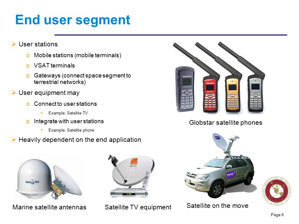 End user segment User stations User equipment may