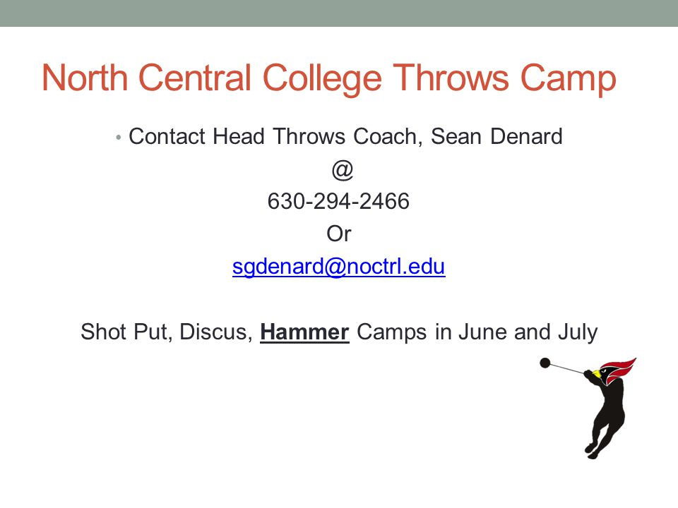 North Central College Throws Camp