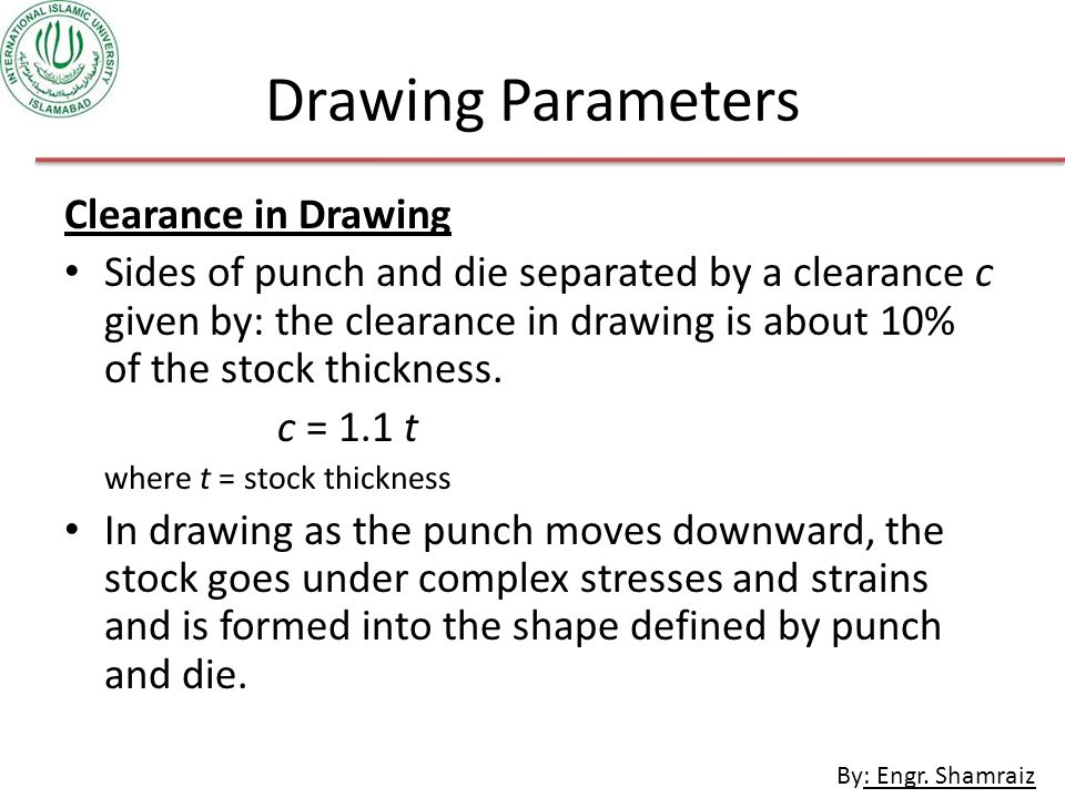 Drawing Parameters Clearance in Drawing