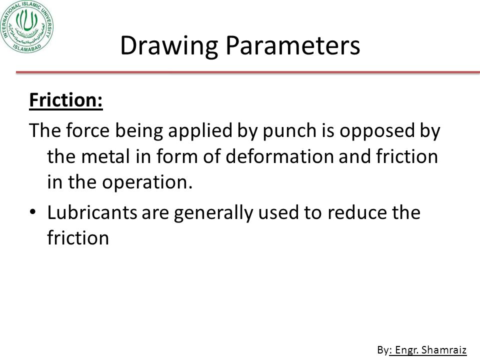 Drawing Parameters Friction: