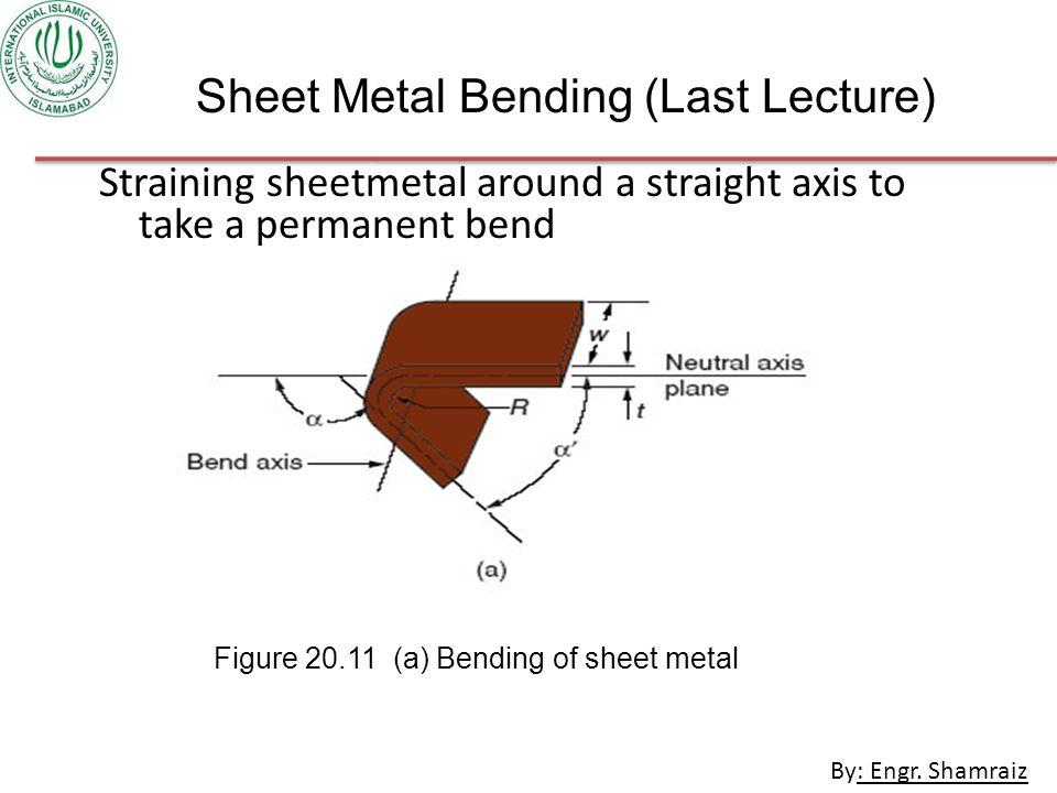 Sheet Metal Bending (Last Lecture)