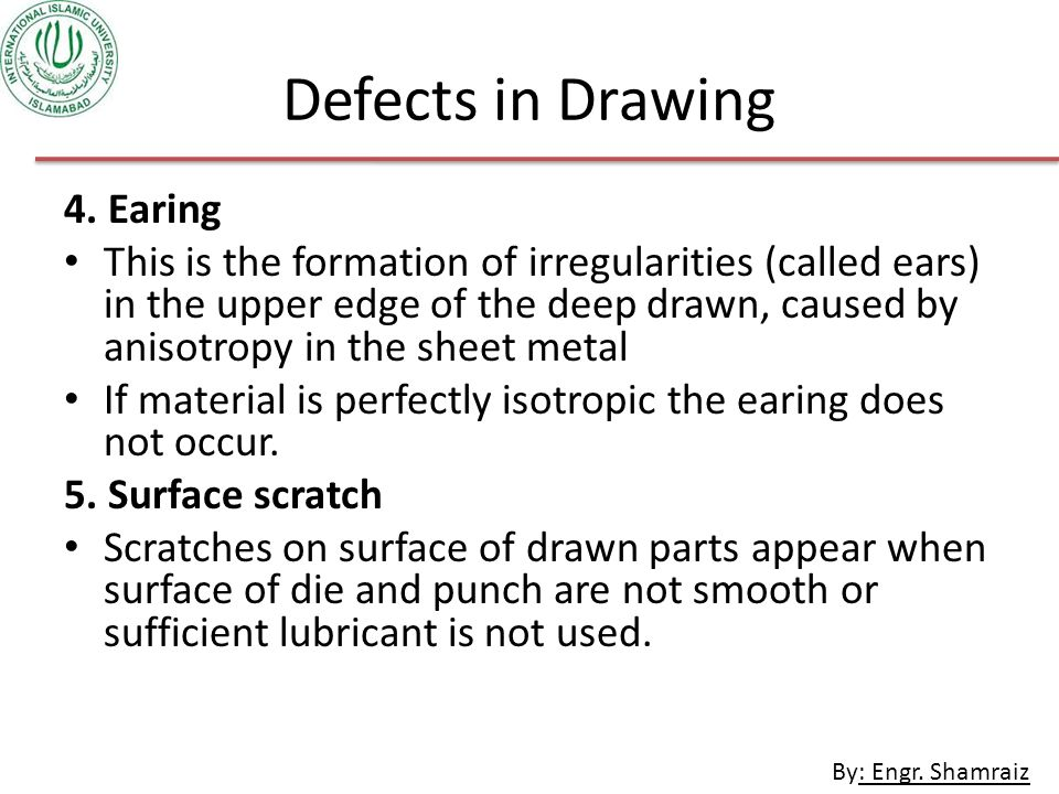 Defects in Drawing 4. Earing