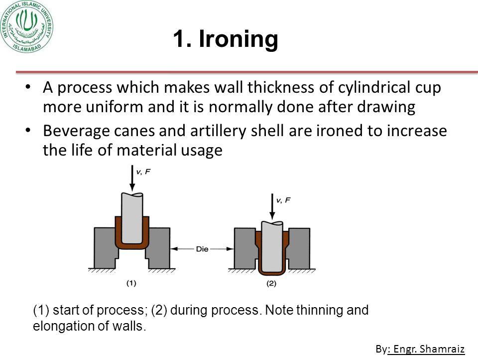 1. Ironing A process which makes wall thickness of cylindrical cup more uniform and it is normally done after drawing.