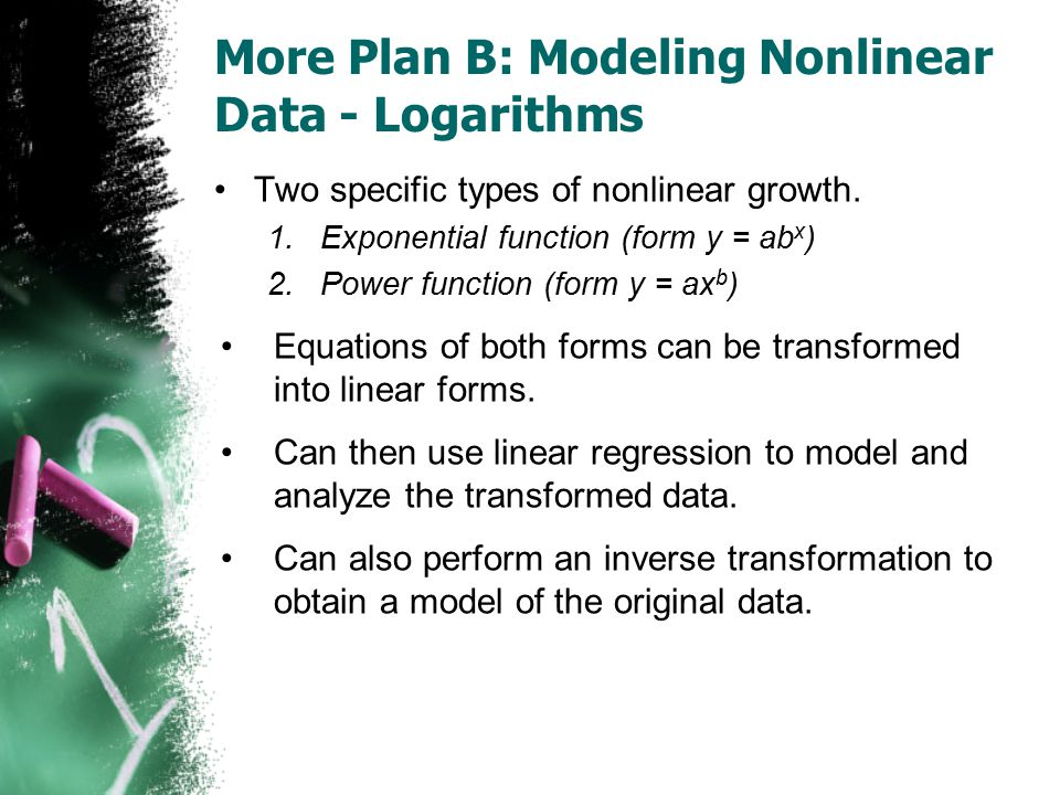 More Plan B: Modeling Nonlinear Data - Logarithms