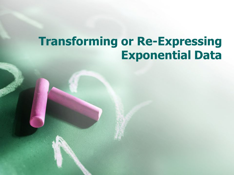 Transforming or Re-Expressing Exponential Data