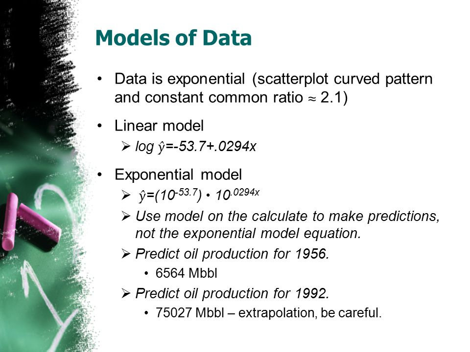 Models of Data Data is exponential (scatterplot curved pattern and constant common ratio ≈ 2.1) Linear model.