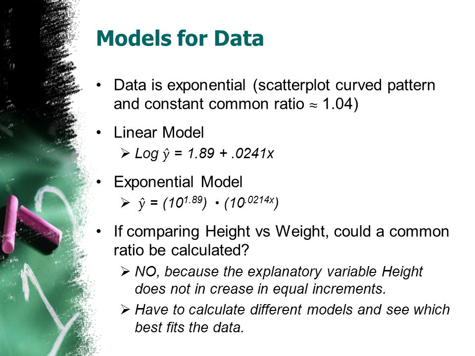 Models for Data Data is exponential (scatterplot curved pattern and constant common ratio ≈ 1.04) Linear Model.