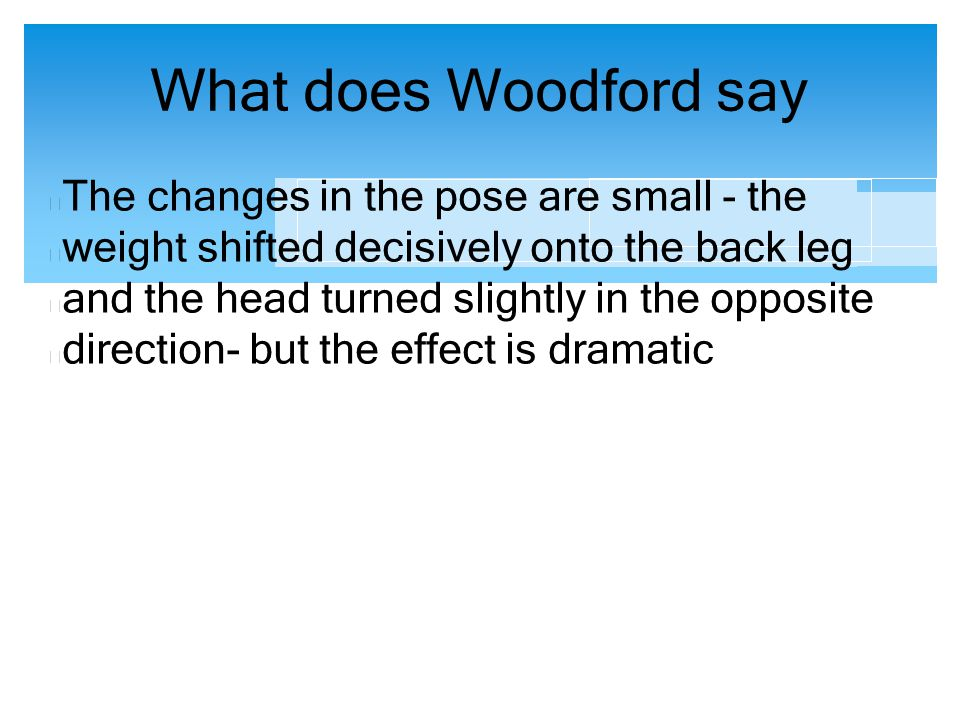 What does Woodford say The changes in the pose are small - the