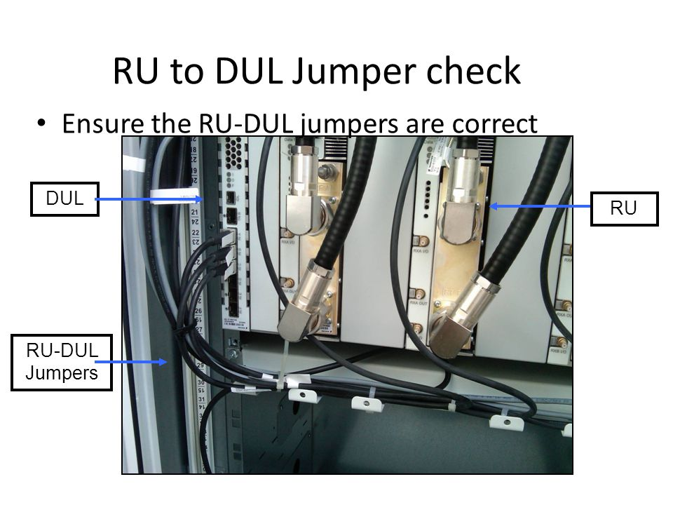 RU to DUL Jumper check Ensure the RU-DUL jumpers are correct DUL RU