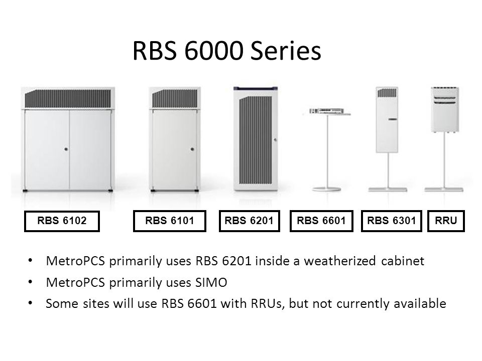 RBS 6000 Series RBS 6102. RBS 6101. RBS 6201. RBS 6601. RBS 6301. RRU. MetroPCS primarily uses RBS 6201 inside a weatherized cabinet.
