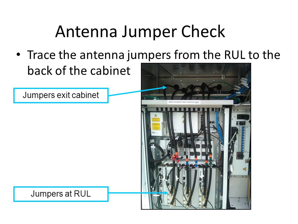 Antenna Jumper Check Trace the antenna jumpers from the RUL to the back of the cabinet. Jumpers exit cabinet.