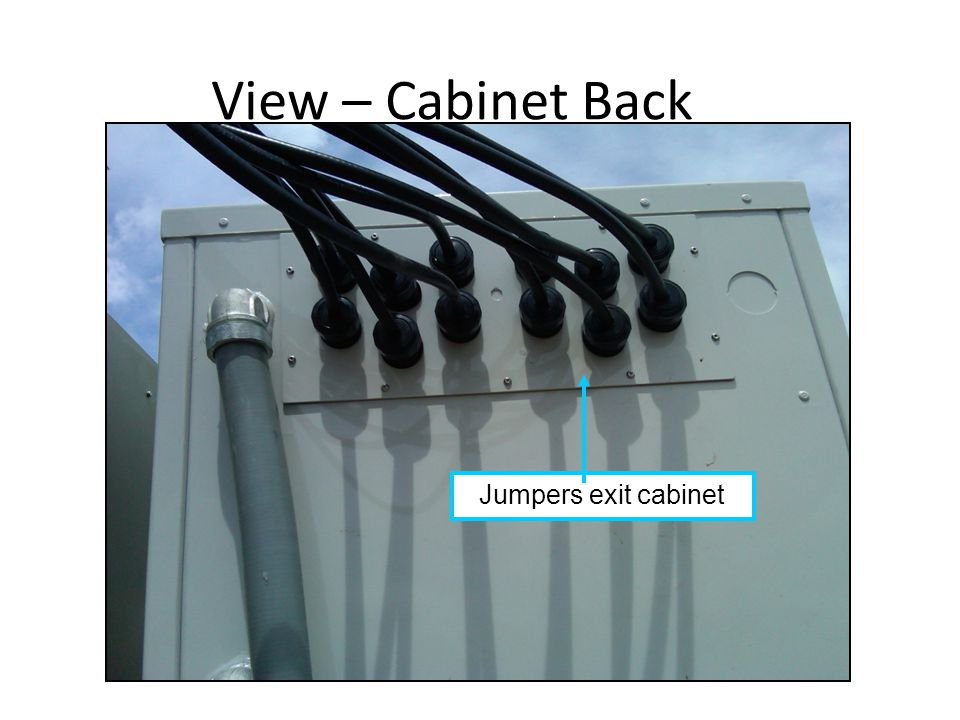 View – Cabinet Back Jumpers exit cabinet