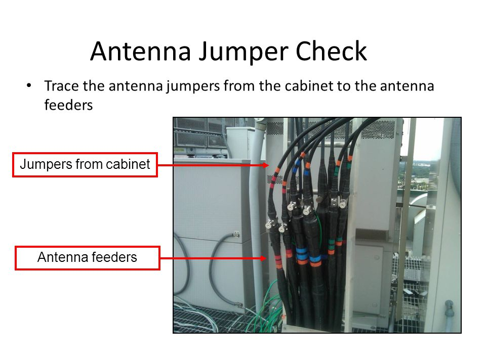 Antenna Jumper Check Trace the antenna jumpers from the cabinet to the antenna feeders. Jumpers from cabinet.