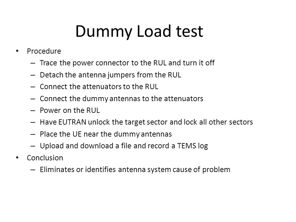 Dummy Load test Procedure