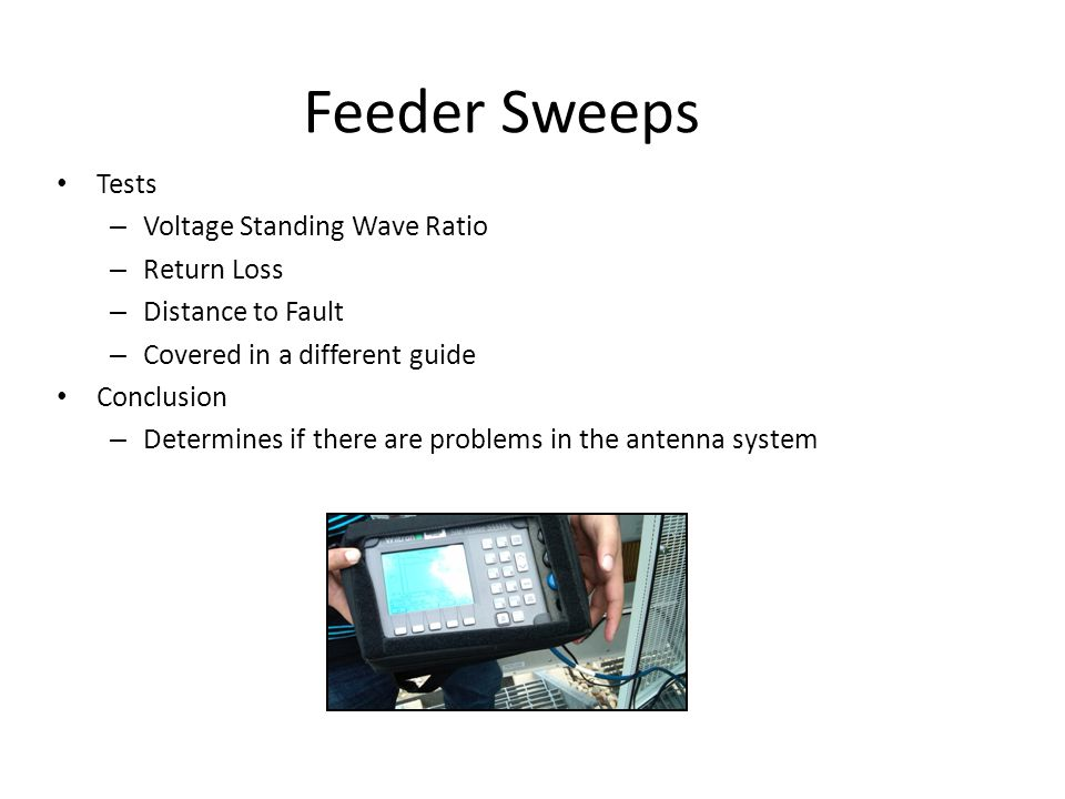 Feeder Sweeps Tests Voltage Standing Wave Ratio Return Loss