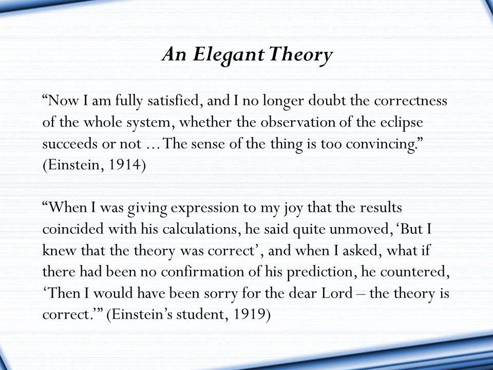 An Elegant Theory