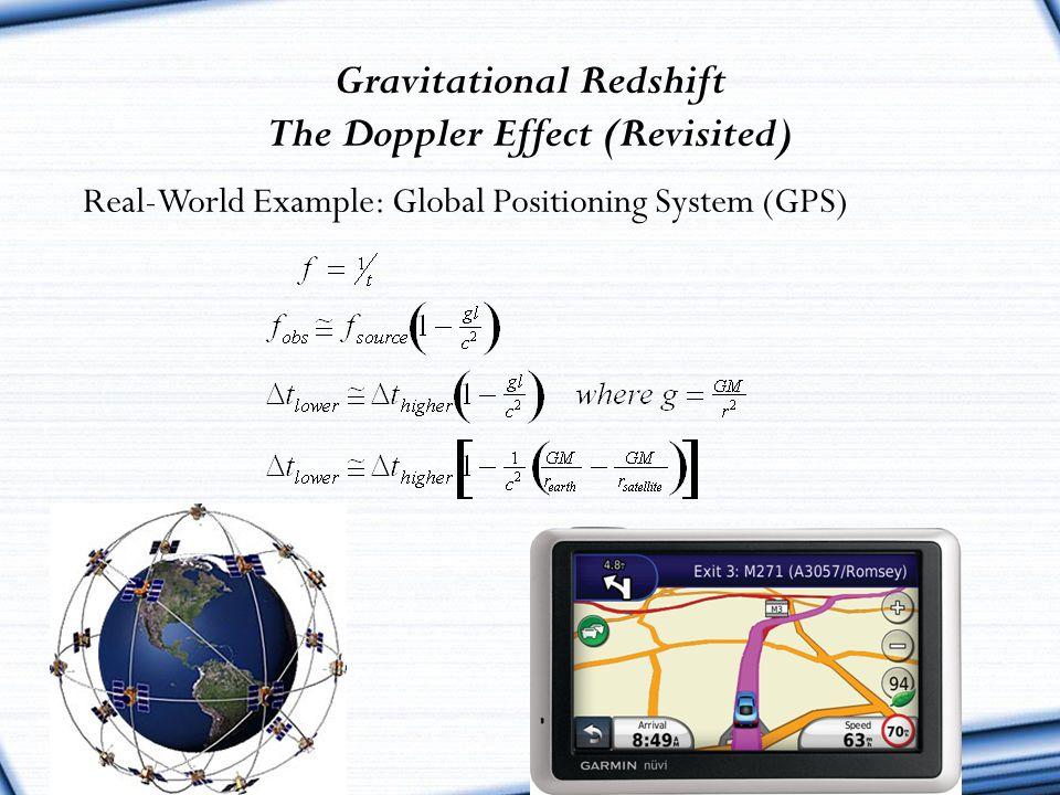 Gravitational Redshift The Doppler Effect (Revisited)
