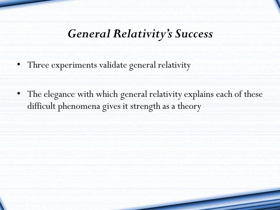 General Relativity's Success