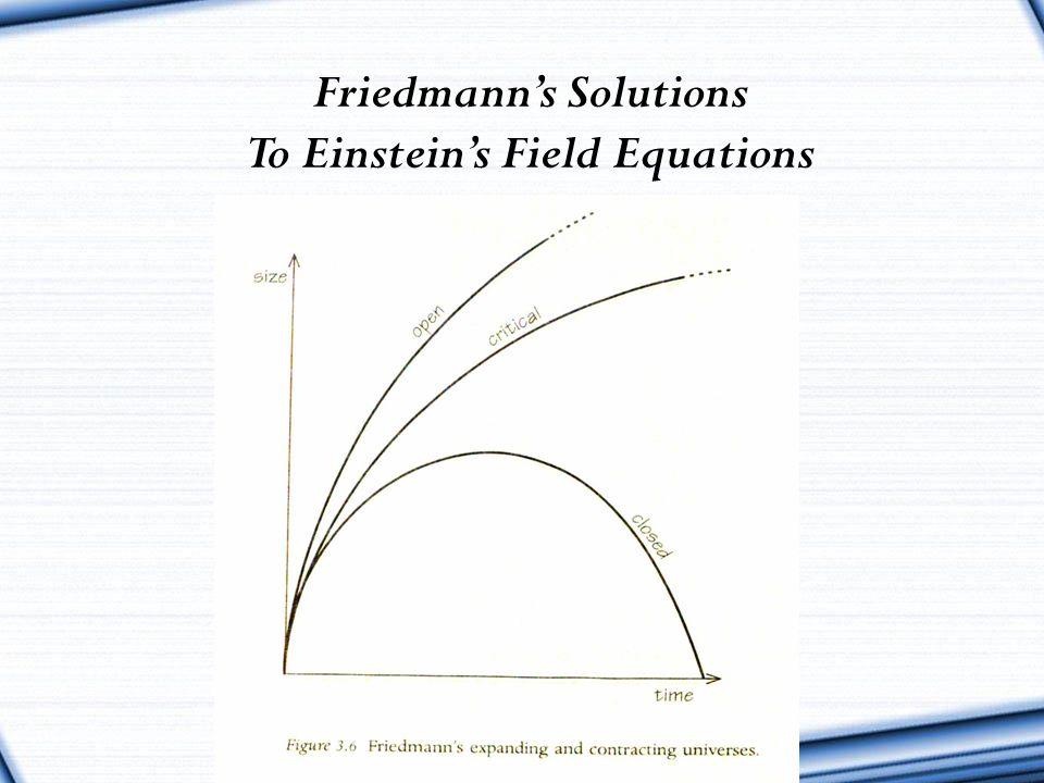 Friedmann's Solutions To Einstein's Field Equations